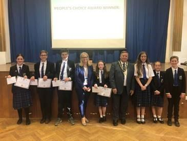 Roding Valley High School students (Award winners and runner ups), Headteacher Sharon Jenner, and Epping Forest Disitrct Council Chairman, Cllr Richard Bassett
