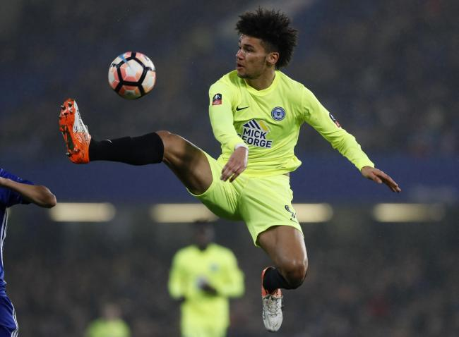 Lee Angol playing for Peterborough United against Chelsea in the FA Cup. Picture: Action Images