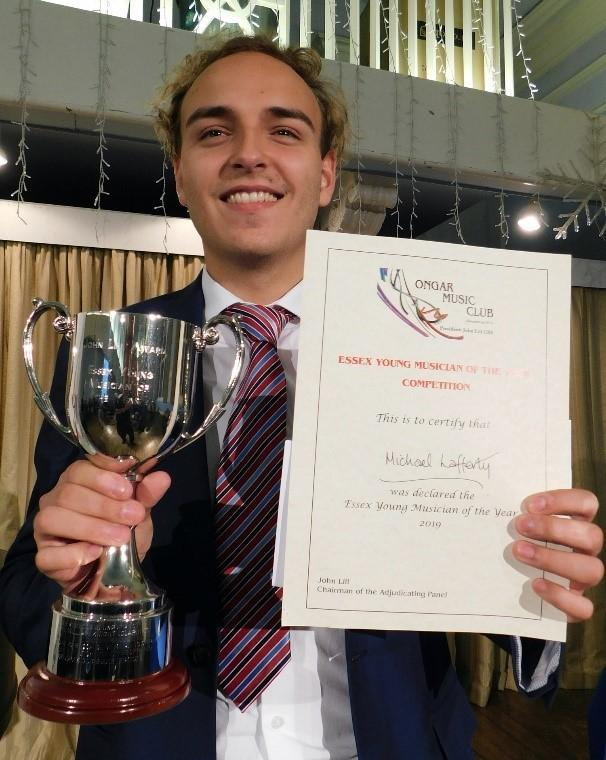 Michael Lafferty, from Southend was crowened this year's Essex Young Musician of the Year