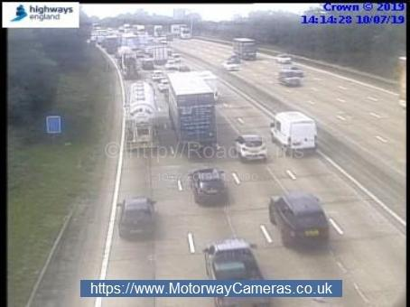 A crash on the M25 has caused delays