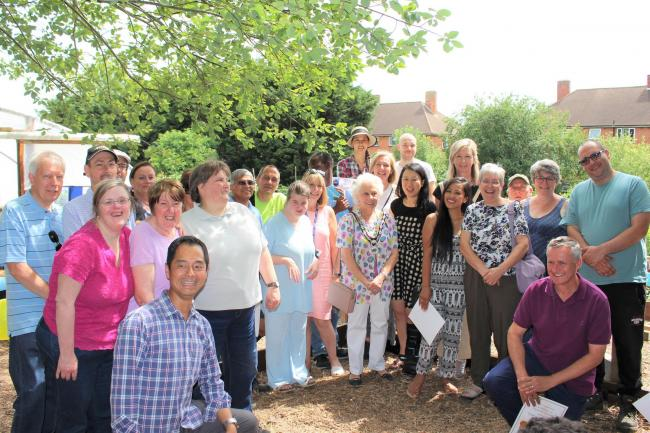 Loughton Town Mayor Cllr Stella Murphy with volunteers and supporters of GROW Community Garden
