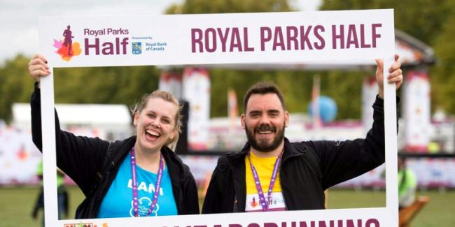 St Clare Community Fundraising Lead Dani De'ath and Andrew Bigg, who ran the Royal Parks Half Marathon together in October 2017