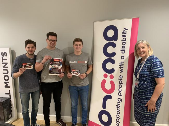 Left to right: (Team Upgrade at Exertis), Jonathan Harbige, Matthew Warwick & Alex Bright, Natalie Emuss – Business Development Manager at Accuro