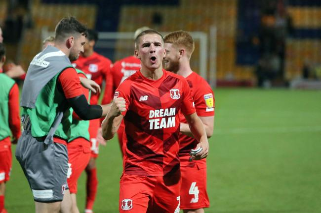 Sam Ling celebrates after Leyton Orient's win over Mansfield Town. Picture: Simon O'Connor