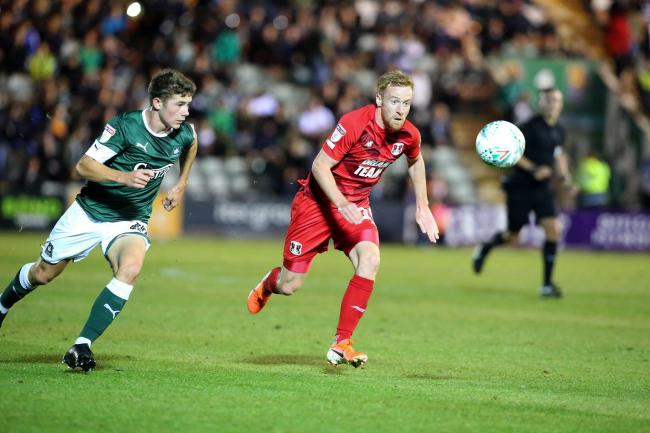 James Brophy in action against Plymouth Argyle in the Carabao Cup. Picture: Simon O'Connor