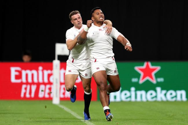 Manu Tuilagi celebrates scoring England's second try in their win over Tonga
