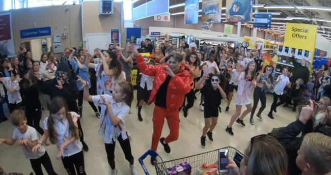 Waltham Abbey Tesco's was brought to a standstill by a dance troupe flash mob on Sunday