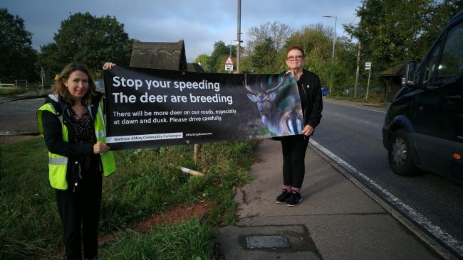 Speedwatch volunteers Carina and Linda opposite the Woodbine Inn last year