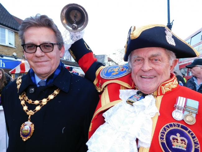 Last year's mayor Nigel Avey with town crier Tony Appleton. Photo: Everything Local News