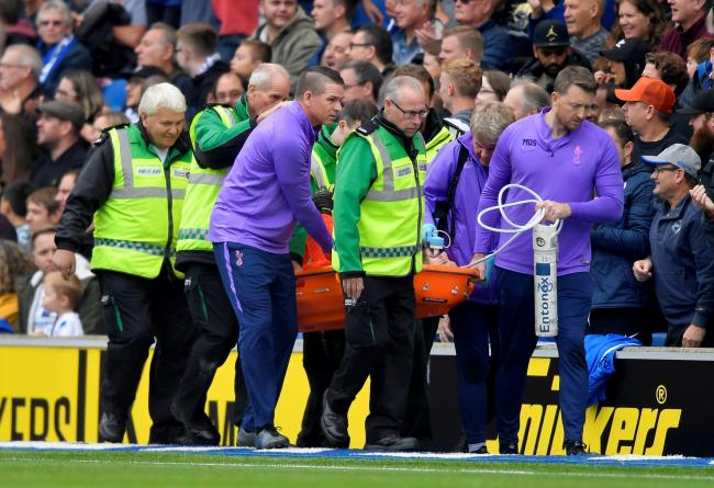 Hugo lloris is stretchered off after sustaining the injury at Brighton. Picture: Action Images