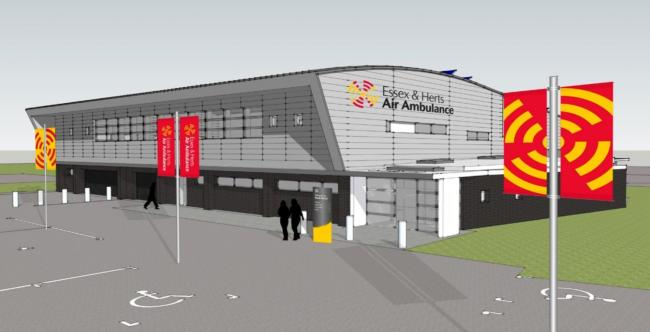 A design concept of what the new £4.5m EHAAT airbase in North Weald