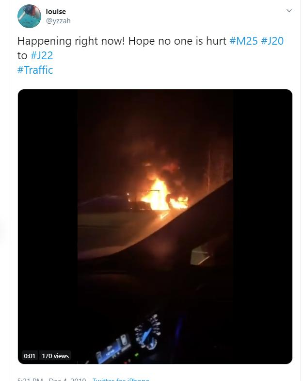 A lorry is on fire on the M25 (photo: Twitter)