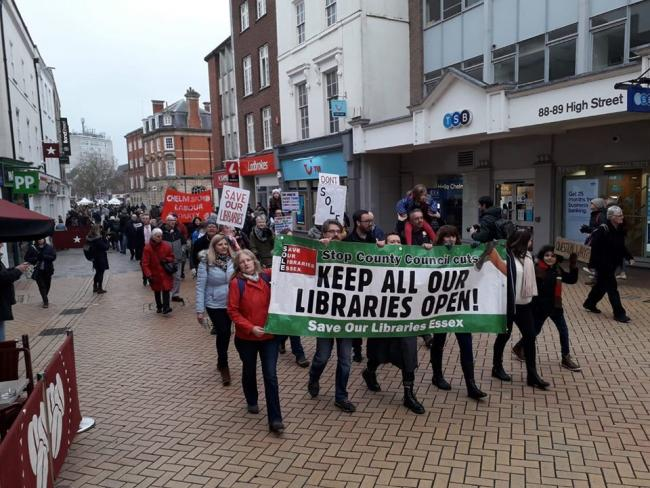 Almost 200 people marched through Chelmsford High Street to support Save Our Libraries Essex campaign