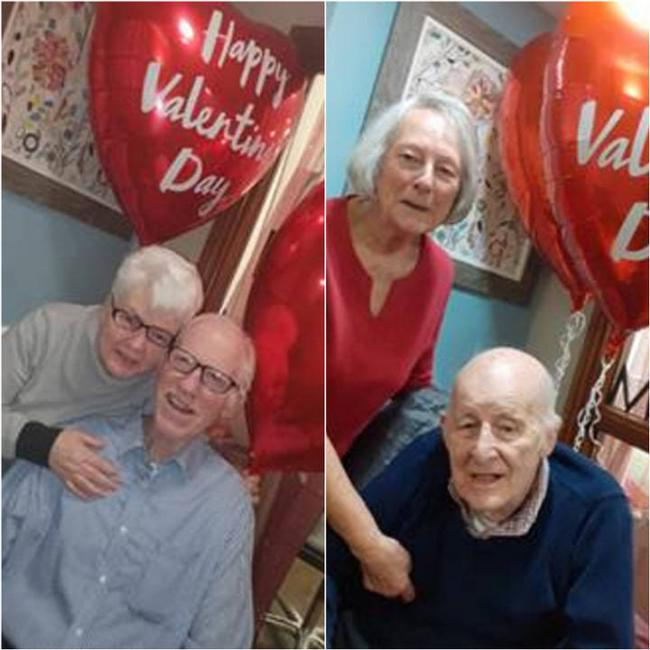 Michael and Catherine Cahill (left) and Charles and Rhonda Benton (right) at Ashbrook Court Care Home's Couple's Party lunch on Valentine's Day on Friday, February 14