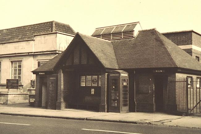 Then and Now: Former public toilets near the junction of Wood Street and Forest Road, Walthamstow, 1970. (Image courtesy of Vestry House Museum picture archive)