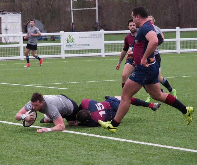 Kirk Chettleburgh scores Eton Manor's first try against Old Haberdashers. Picture: Martin Pearl