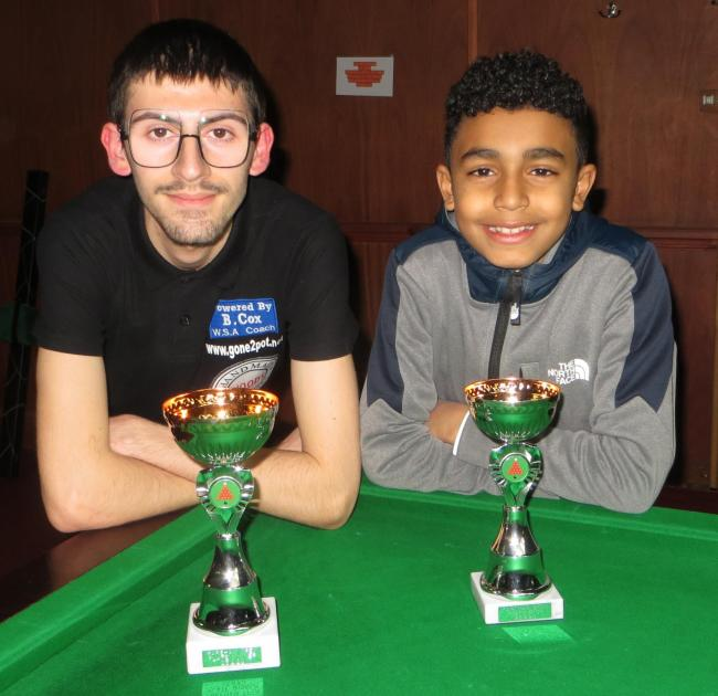 Aristos Pampouris (left] beat O'Shay Scott in the Plate final at the Cuestars Under-21 circuit.