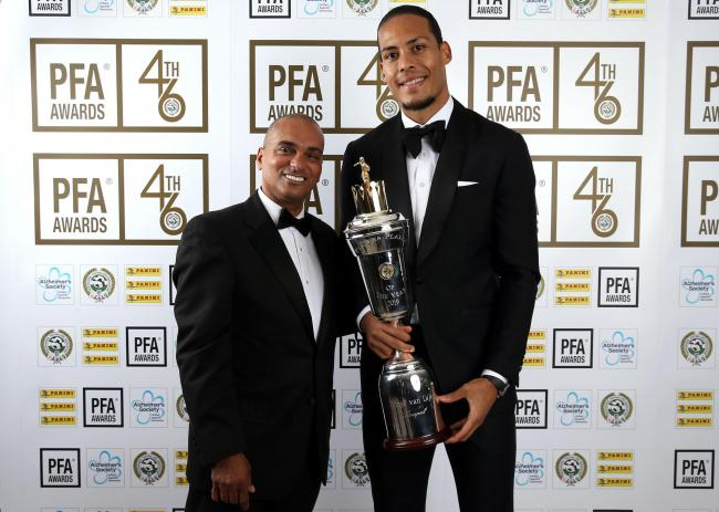 Bobby Barnes with Virgil van Dijk at last year's PFA Awards. Picture: Barrington Coombs/PA Wire