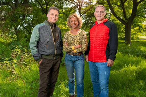 (L-R) Chris Packham, Gillian Burke and Iolo Williams. Photo: PA Photo/BBC
