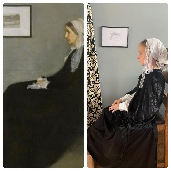 Year 6 pupil Abbey Burke in the pose of Whistler's mother as part of a challenge to recreate the artist's famous painting Arrangement in Grey and Black No.1