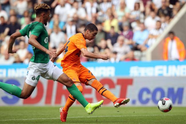 William Saliba, left, will not be able to play for Saint-Etienne in the French cup final against Paris Saint-Germain on July 24