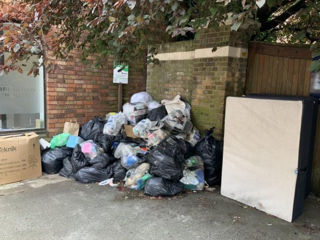 Rubbish keeps reappearing outside the former Sun Street Police Station in Waltham Abbey. Photo: Dave Plummer