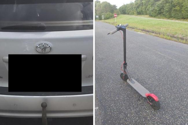 Essex Roads Policing Unit shared pictures of the car and the scooter on Twitter following the incident on the M11. Photos: Essex Roads Policing Unit