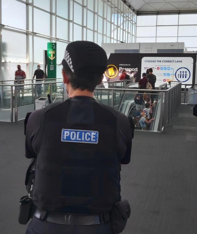 Officers at Stansted Airport spent the day working alongside Border Force to raise awareness of the signs of modern slavery and human trafficking. Photo: Essex Police