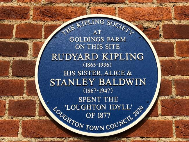 A blue plaque commemorates the house where Rudyard Kipling and Stanley Baldwin stayed in Loughton. Photo: Loughton Town Council