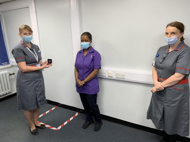 (left to right) Trust's director of nursing Sharon McNally, Francina Mushaninga, Victoria Andrews. Credit: PAHT