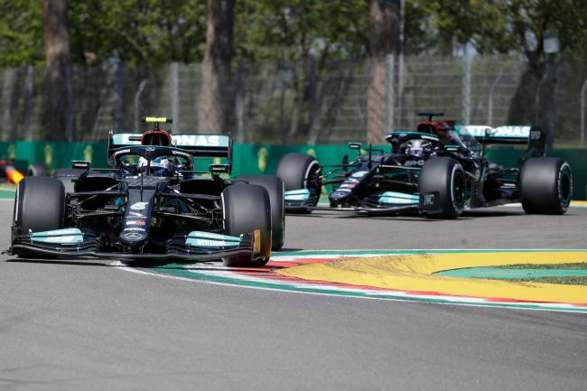 Valtteri Bottas finished ahead of Lewis Hamilton in first practice