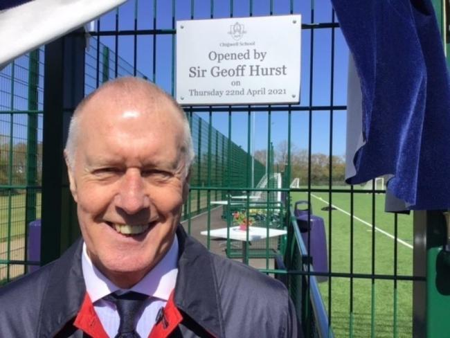 Sir Geoff Hurst spoke to pupils at Chigwell School and gave advice on how to improve as players. Photo: Chigwell School