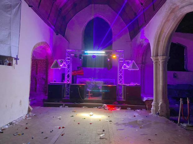 Epping Forest Guardian: All Saints Church was left badly damaged by the rave. Photo: Essex Police