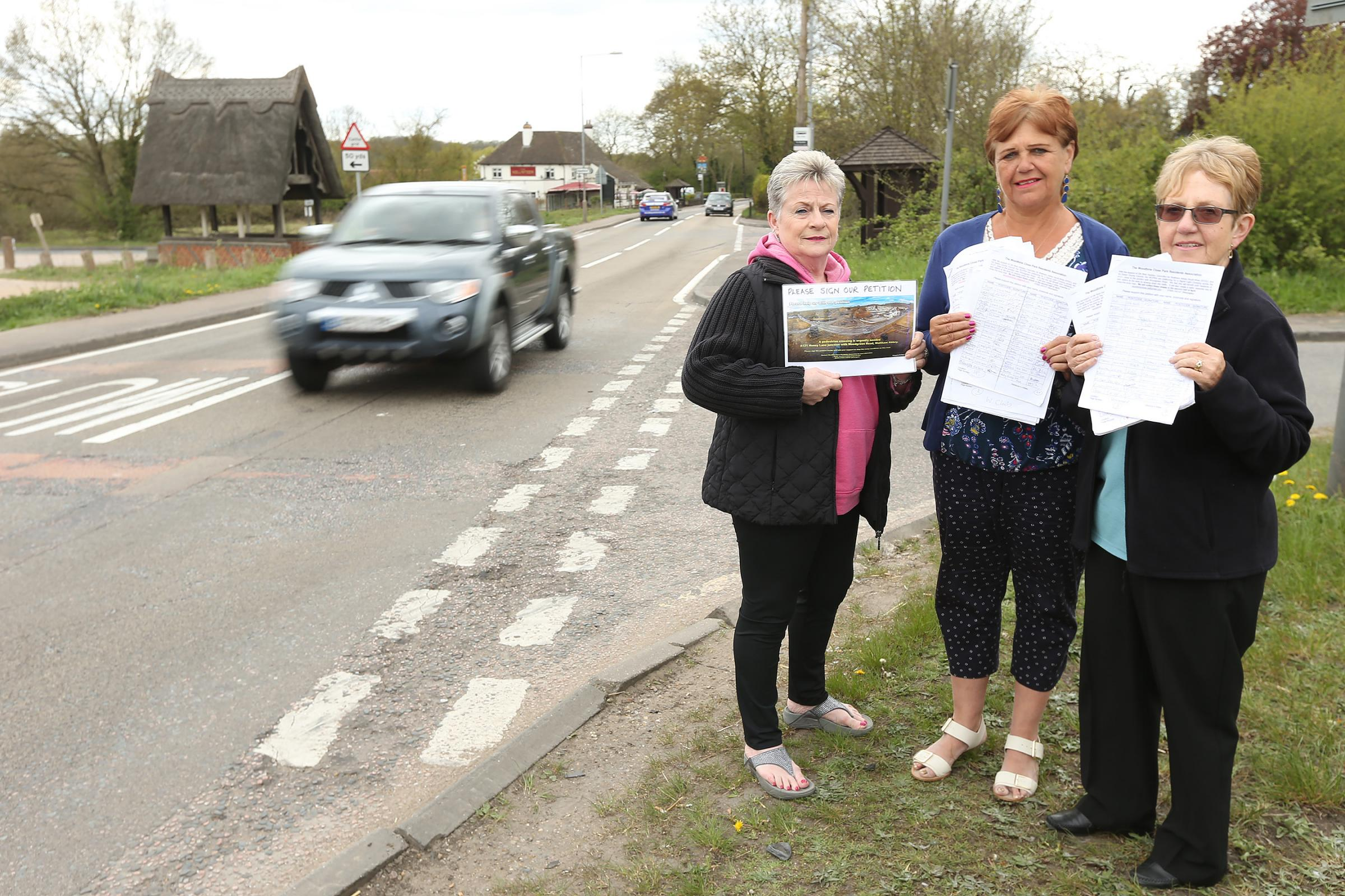 Jeanette Jones, Jane Trite and Tessa First have started a petition for a road crossing on Honey Lane