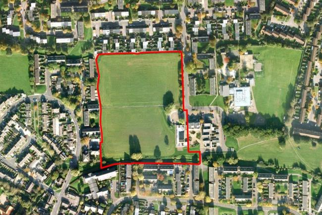 An aerial photo of Hillhouse, with the development area highlighted