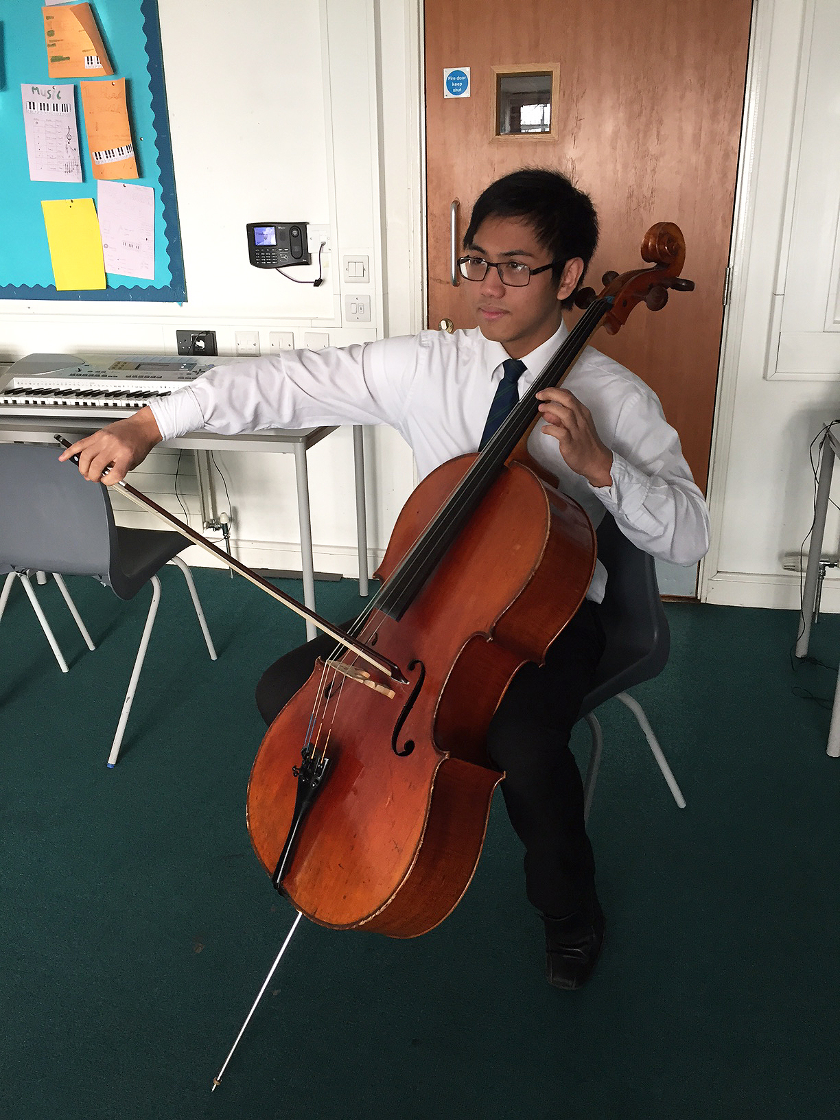 old Danilo Dela Cruz, from Enfield, cannot believe his luck at winning the chance to play his cello in the Enfield Chamber Orchestra's Concert this Saturday