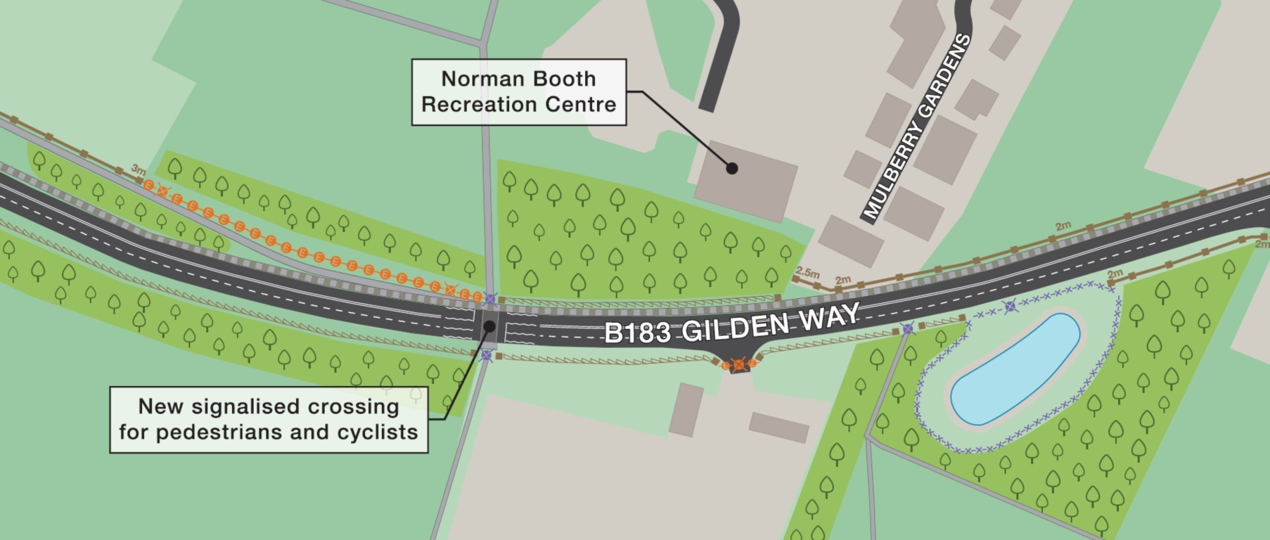 Section of map showing proposed noise barriers along Gilden Way