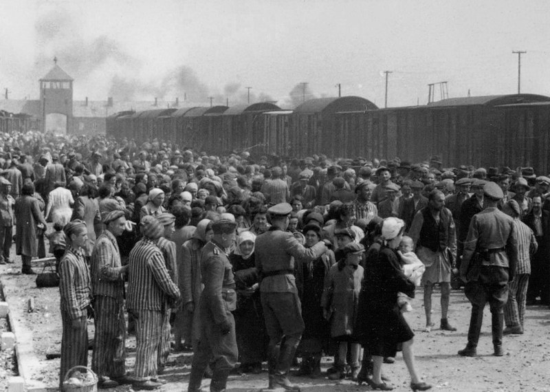 Hungarian Jews on the ramp at the death camp Birkenau in Poland