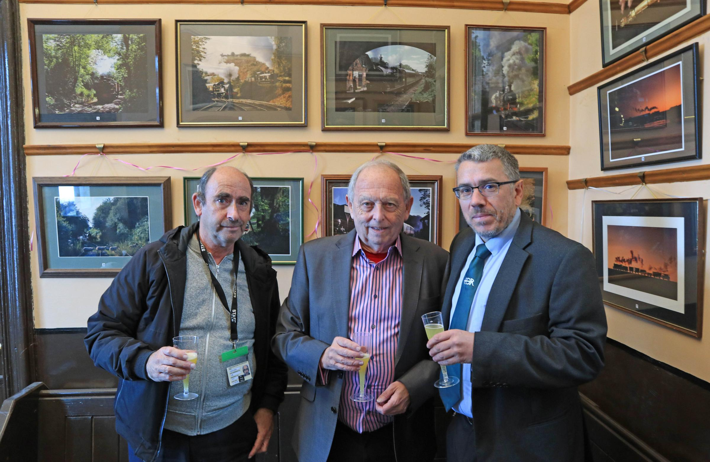 Malcolm Batten, Geoff Silcock and Dean Walton at the formal opening of the latest exhibition.