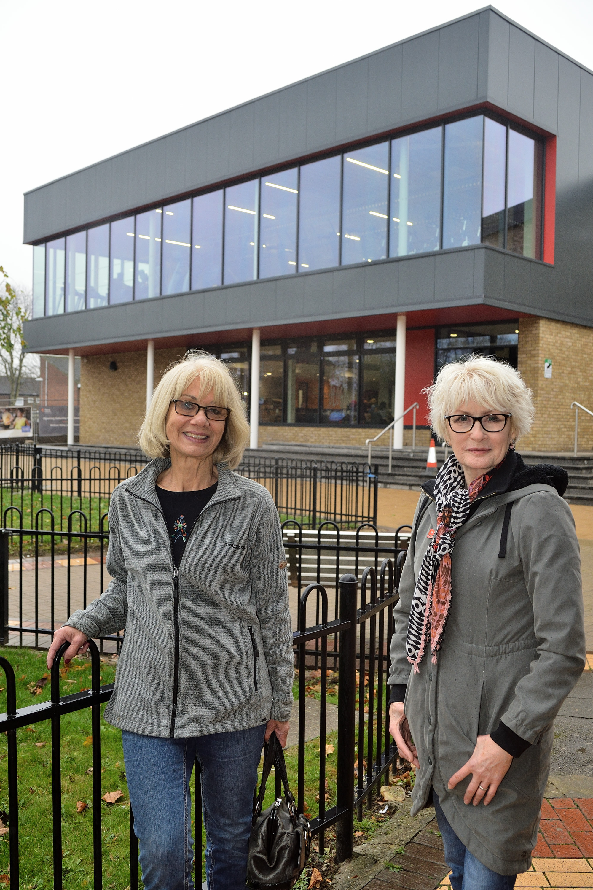 Angela Ayre is the chairwoman of the Labour Party in EF and Kay Morrison, the women's officer are protesting the lack of creche facilities in the new Waltham Abbey Leisure Centre.  Waltham Abbey/Essex. (27-11-2018) EL92353_03