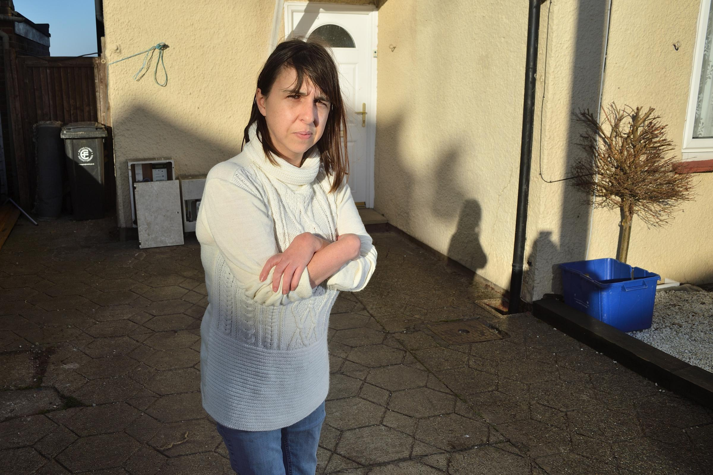 Jodi Morley has a condition which means her joints are stiff. She can barely walk, however the DVLA has just taken her mobility car away and the DWP has reduced her monthly benefits from £480 to £200. Epping Essex. (7/1/2019) EL92384_05