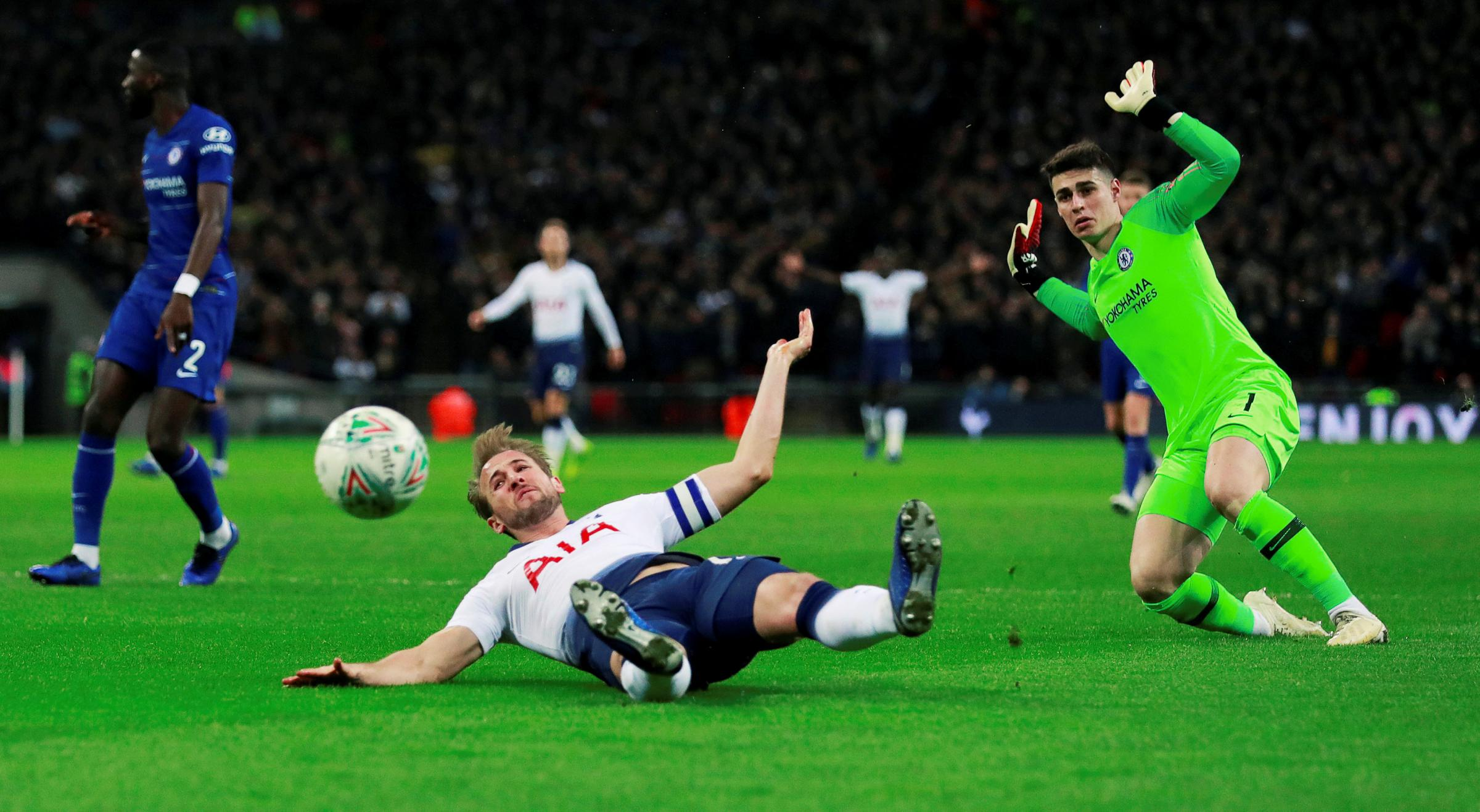 Harry Kane is fouled by Kepa Arrizabalaga for the controversial penalty. Picture: Action Images