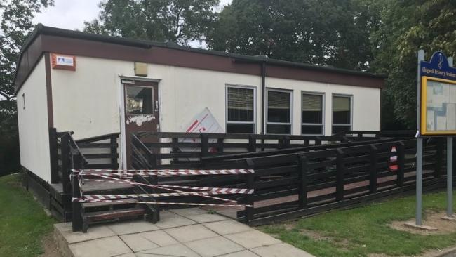 One of the portacabins at Chigwell Primary Academy School