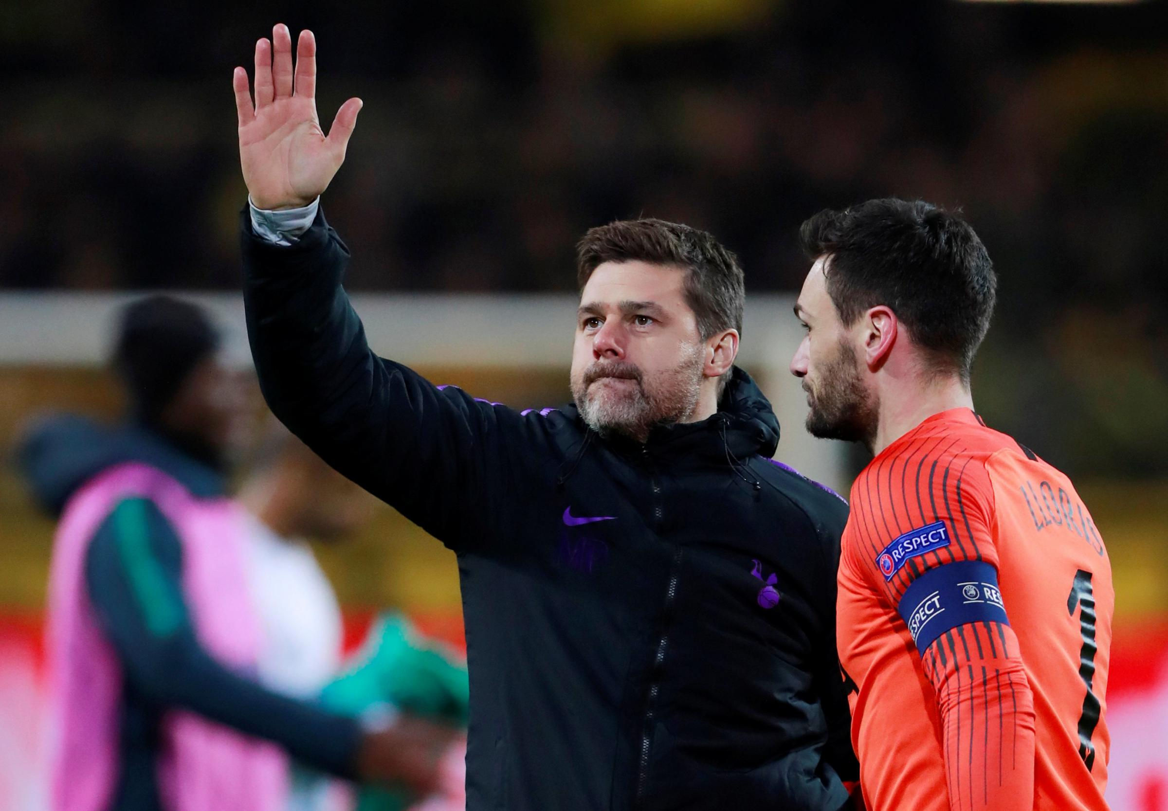 Mauricio Pochettino waves to the crowd folllowing Spurs' success. Picture: Action Images