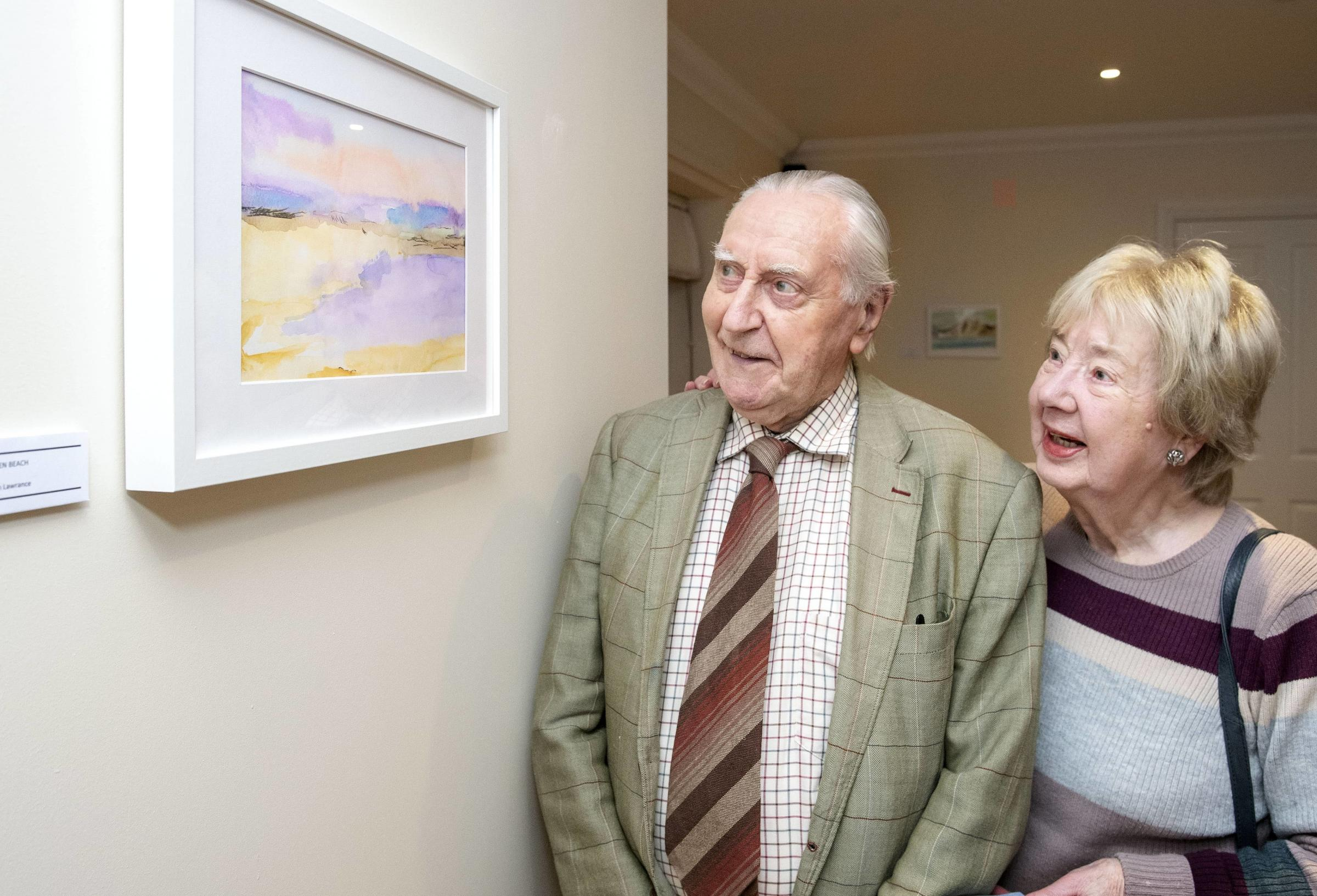 John Lawrance & Margaret Lawrance with his piece 'Open Beach'
