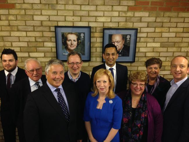 (left to right) Ryan Sparrowhawk, Tony Woodhead, Brian Sandler, John Philip, Epping Forest MP Eleanor Laing, Gagan Mohindra, Helen Kane, Valarie Metcalfe and Simon Jones at a meeting in 2015