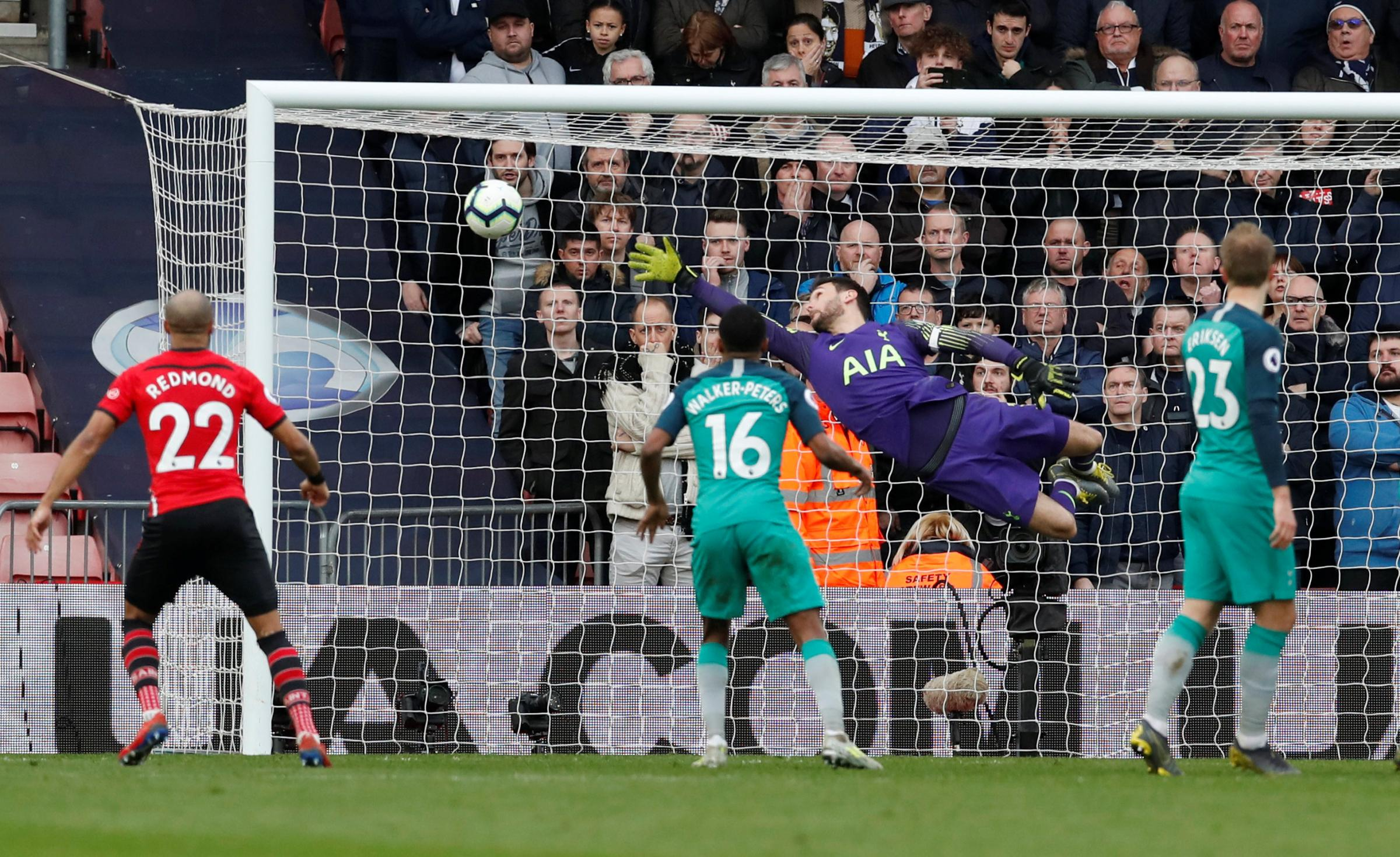 Hugo Lloris is beaten by James Ward-Prowse's match-winning free-kick. Picture: Action Images