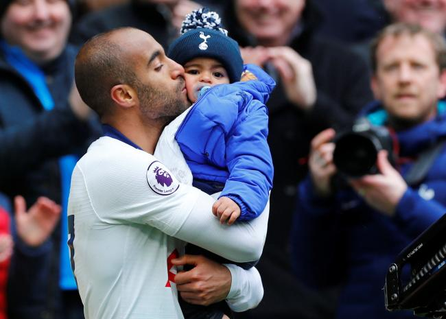 Lucas Moura celebrates with his son. Picture: Action Images