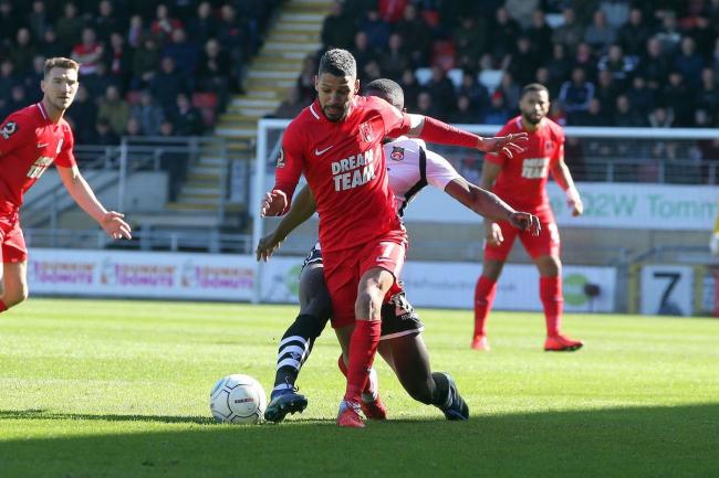 Jobi McAnuff in action against Wrexham in the National League. Picture: Simon O'Connor