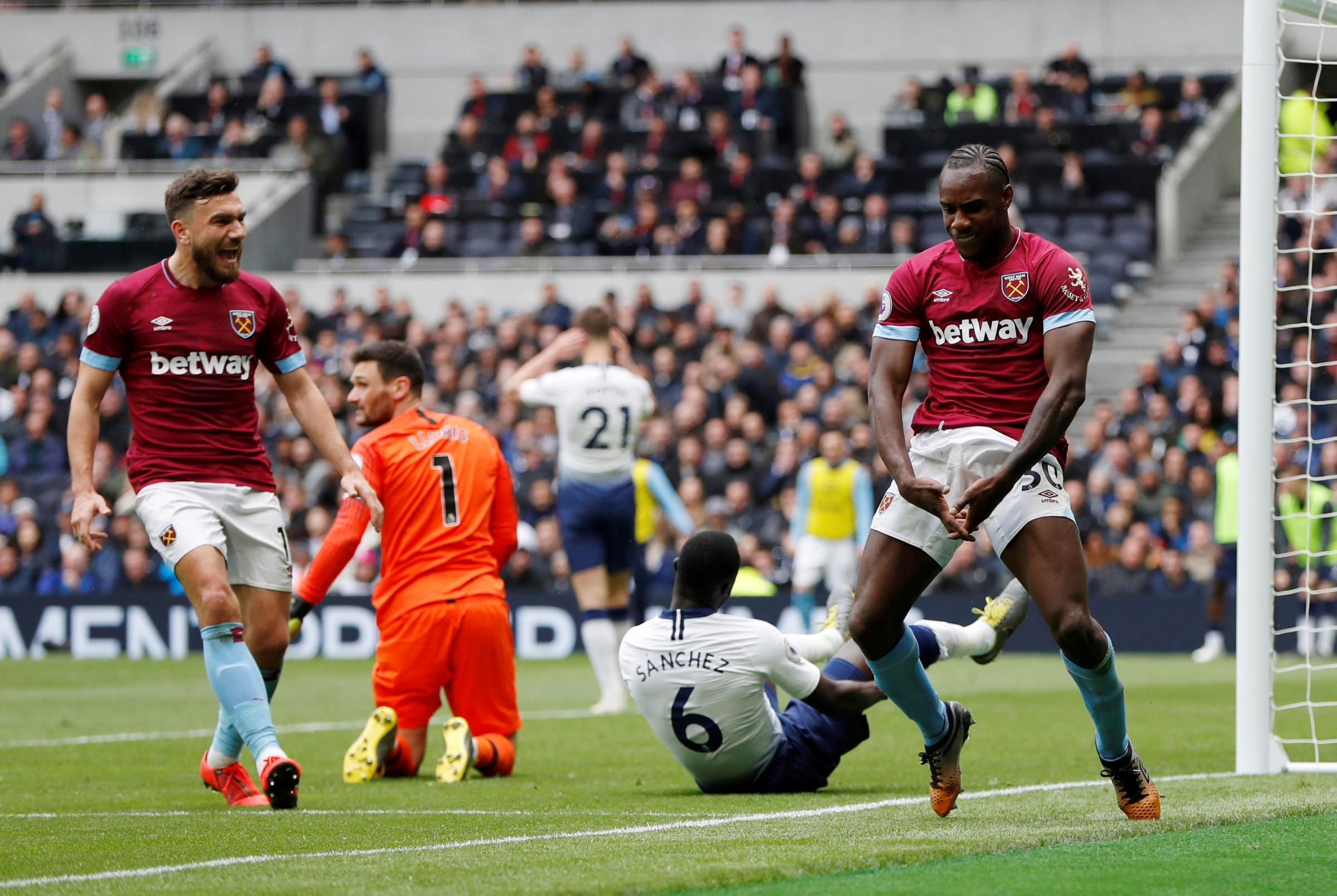 Michail Antonio celebrates his winning goal. Picture: Action Images